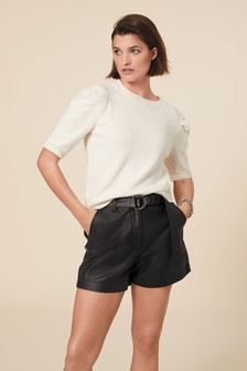 Belted Coated Denim Shorts