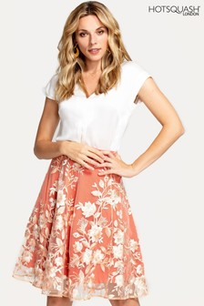 Hot Squash Orange Flared Embroidered Skirt