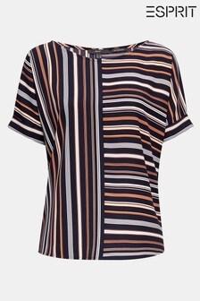 Esprit Blue Short Sleeve Striped Blouse
