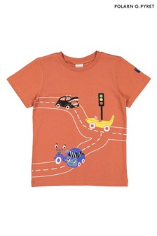 Polarn O. Pyret Orange GOTS Organic Printed T-Shirt