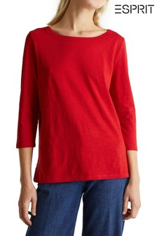 Esprit Red OCS 3/4 Sleeve T-Shirt With Round Neck