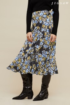 Jigsaw Black Graphic Poppy Ruffle Midi Skirt