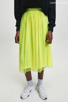 Calvin Klein Yellow Mesh Skirt