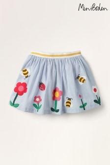 Mini Boden Blue Scene Appliqué Skirt