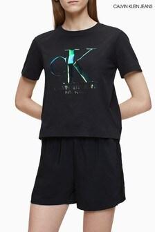 Calvin Klein Jeans T-Shirt mit schillerndem Logo, Schwarz