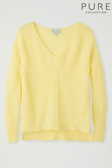 Pure Collection Yellow Gassato Pointelle Detail V-Neck Sweater