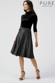 Pure Collection Grey Knitted Fit And Flare Skirt