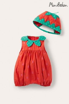 Boden Red Woven Bubble Romper