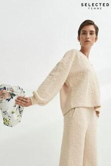Selected Femme Beige Floral Jacquard Sweatshirt