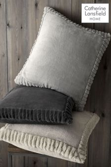Catherine Lansfield Grey Velvet and Faux Fur Cushion