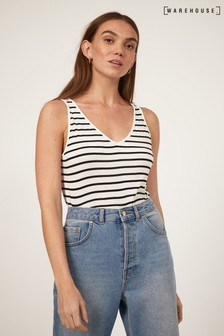 Warehouse Black Stripe V-Neck Vest