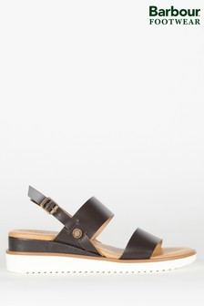 Barbour® Brown Leather Low Wedge Delilah Sandals