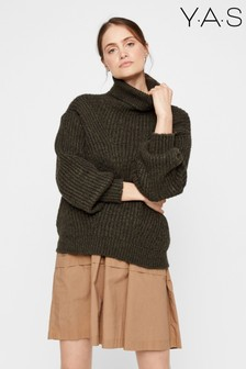 Y.A.S Olive Chunky Knit Roll Neck Jumper