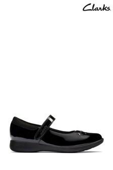 Clarks Black Patent Etch Bright Kids Shoes