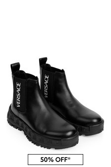 Versace Boys Black Leather Boots