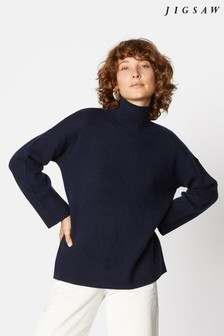 Jigsaw Blue Cashmere Slouchy Turtle Jumper