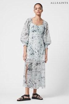 AllSaints Blue Bari Print Long Dress