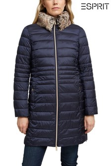 Esprit Blue Thinsulate Outdoor Jacket With Detachable Faux Fur Hood