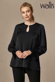 Wallis Black Keyhole Detail Blouse