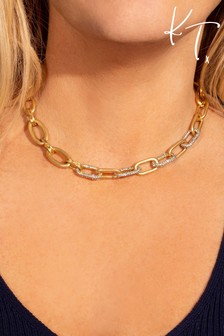 Kate Thornton Gold Chunky Pavé Link Chain Necklace