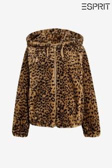 Esprit Brown Hooded Faux Fur Jacket
