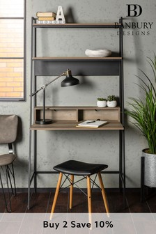 Banbury Designs Grey Wash 36 Modern Wood Ladder Computer Desk