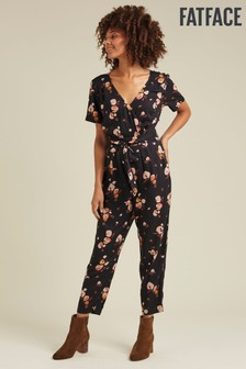 FatFace Black Elsa Painted Floral Jumpsuit