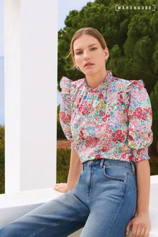 Warehouse Floral Puff Sleeve Top