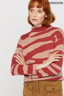 Monsoon Red Celine Animal Print Jumper