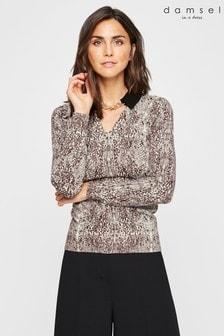 סוודר סרוג בדוגמת עור נחש של Damsel In A Dress דגם Corbin בבז'