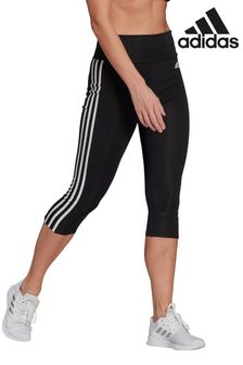 adidas 3 Stripe D2M High Waisted 3/4 Leggings