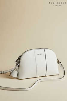 Ted Baker White Barbrie Leather Cross Hatch Dome Bag