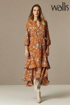 Wallis Red Teracotta Floral Midi Dress