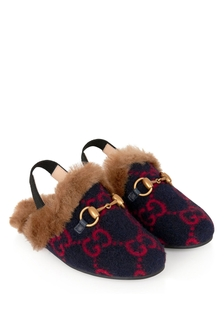 Kids Navy GG Wool Princetwon Slippers With Faux Fur