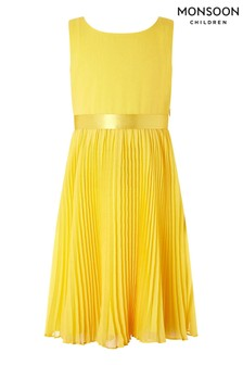 Monsoon Yellow Keita Pleat Dress