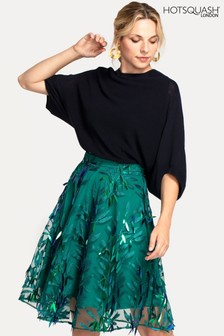 Hot Squash Green Flared Embroidered Skirt