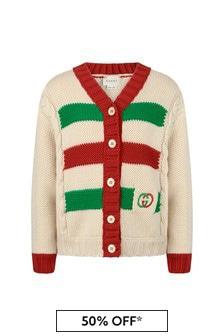 GUCCI Kids Girls White Wool Knitted Cardigan