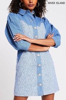 River Island Blue Bouclé Denim Mix Shirt Dress