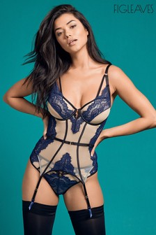 Figleaves Blue Amelie Peep Strapping Underwired Basque