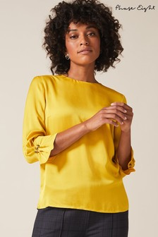 Phase Eight Yellow Bettie Maya Cuff Blouse