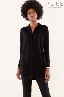 Pure Collection Black Merino Wool Collared Tunic