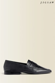Jigsaw Black Dylan Leather Soft Loafers