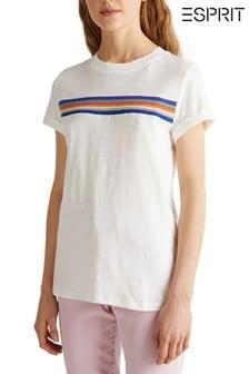 Esprit T-Shirt mit horizontalemRegenbogenstreifen, Natur