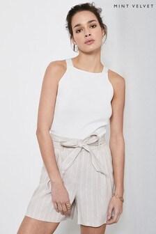 Mint Velvet Natural Stripe Paperbag Waist Shorts