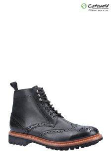 Cotswold Black Rissington Commando Goodyear Welt Lace-Up Boots