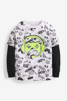 Gaming All Over Print Sequin T-Shirt (3-16yrs)