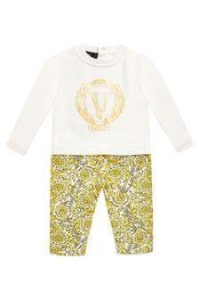 Versace Baby Boys White Cotton Romper