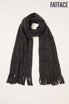 FatFace Grey Brushed Check Scarf