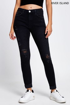 River Island Black Amelie Mid Rise Ripped Zorro Jeans