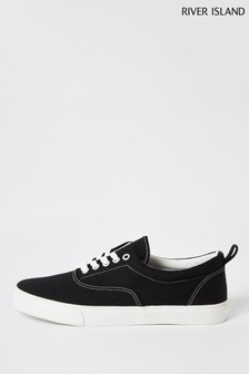 River Island Black Vulcanised Lace-Up Plimsolls